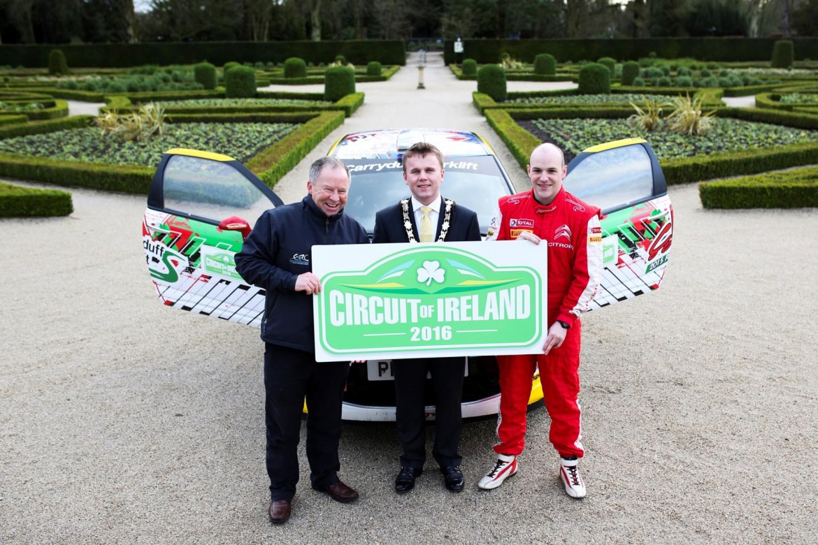 Looking forward to a brand new Circuit Qualifying Stage based at Antrim Castle Gardens is star driver Jonny Greer.  The Citroen DS 3R3 driver from David Greer Motorsport is pictured with Mayor of Antrim and Newtownabbey, Cllr Thomas Hogg (centre) and Bobby Willis (left) Circuit of Ireland event director.