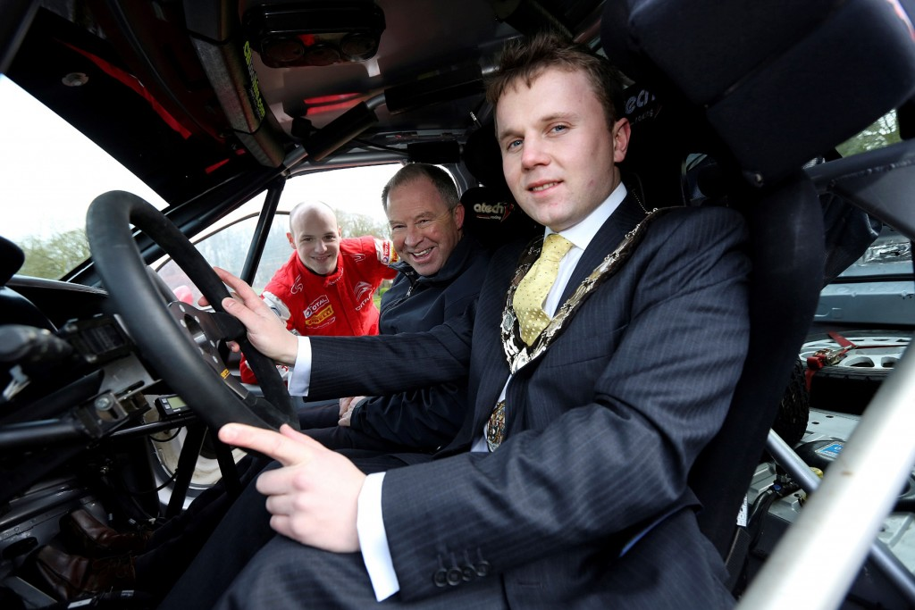 Looking forward to a brand new Circuit Qualifying Stage based at Antrim Castle Gardens is star driver Jonny Greer.  The Citroen DS 3R3 driver from David Greer Motorsport is pictured with Mayor of Antrim and Newtownabbey, Cllr Thomas Hogg (right) and Bobby Willis (centre) Circuit of Ireland event director.