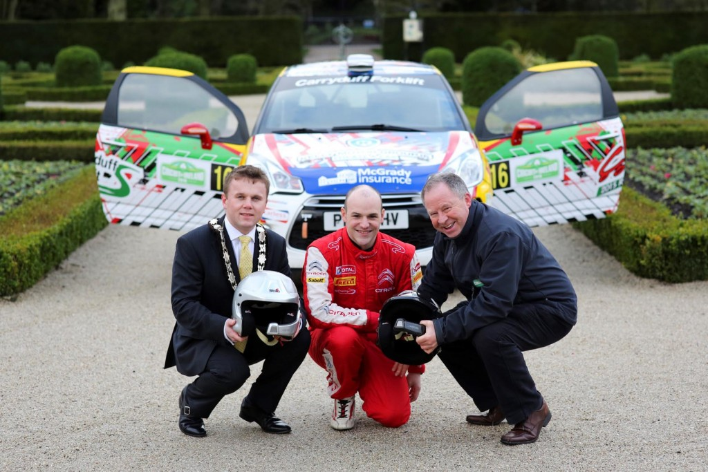 Looking forward to a brand new Circuit Qualifying Stage based at Antrim Castle Gardens is star driver Jonny Greer.  The Citroen DS 3R3 driver from David Greer Motorsport is pictured with Mayor of Antrim and Newtownabbey, Cllr Thomas Hogg (left) and Bobby Willis (right) Circuit of Ireland event director.