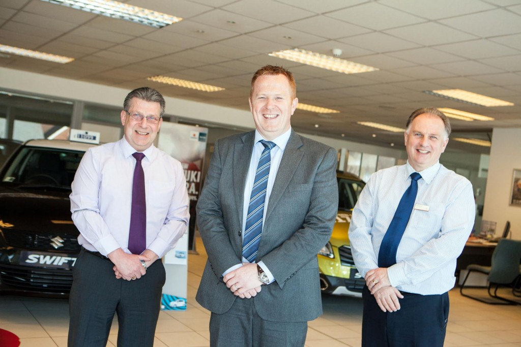 L-R, Gerry Rice (SEAT sales manager), Paul Greenfield (General Manager), Mark Hylands (Citroen Sales Manager)