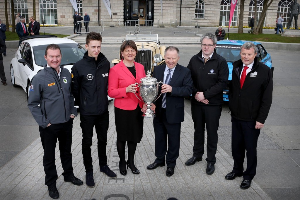 Picture credit © Matt Mackey - Presseye.com Belfast - Northern Ireland - 3rd March 2016 ** NO PICTURE FEE** First Minister, Arlene Foster, is pictured at the launch of the 2016 Circuit of Ireland Rally with Event Director Bobby Willis and driver's Former British Champion Neil Simpson, FIA ERC Junior driver Chris Ingram along with local men Brendan Cumisky and Fintan McGrady. Celebrating its 85th year, the Circuit of Ireland Rally has grown to become a global event, attracting competitors and spectators from across the world. It takes place from 7th – 9th April in County Antrim, County Down and Belfast.