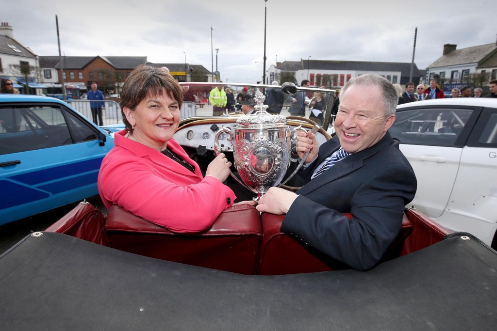 Picture credit © Matt Mackey - Presseye.com Belfast - Northern Ireland - 3rd March 2016 ** NO PICTURE FEE** First Minister, Arlene Foster, is pictured at the launch of the 2016 Circuit of Ireland Rally with Event Director Bobby Willis. Celebrating its 85th year, the Circuit of Ireland Rally has grown to become a global event, attracting competitors and spectators from across the world. It takes place from 7th – 9th April in County Antrim, County Down and Belfast.