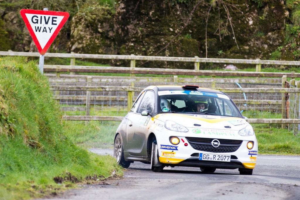 Marijan Griebel won the Coling McRae Flat Out Trophy and is pictured here on Hamiltons Folly stage with his puncture