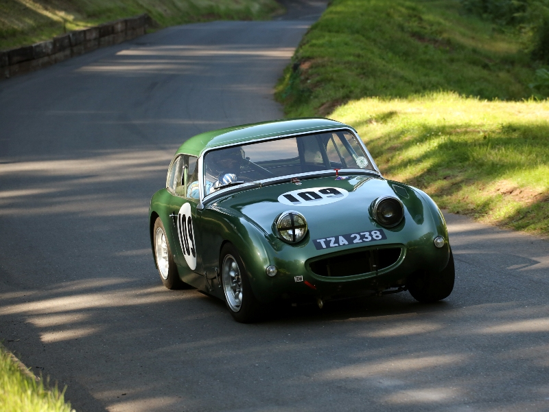 James Thacker driving his 1960 Sprite MK1, 'One-eyed Sprite'. Photo: Derek Hibbert