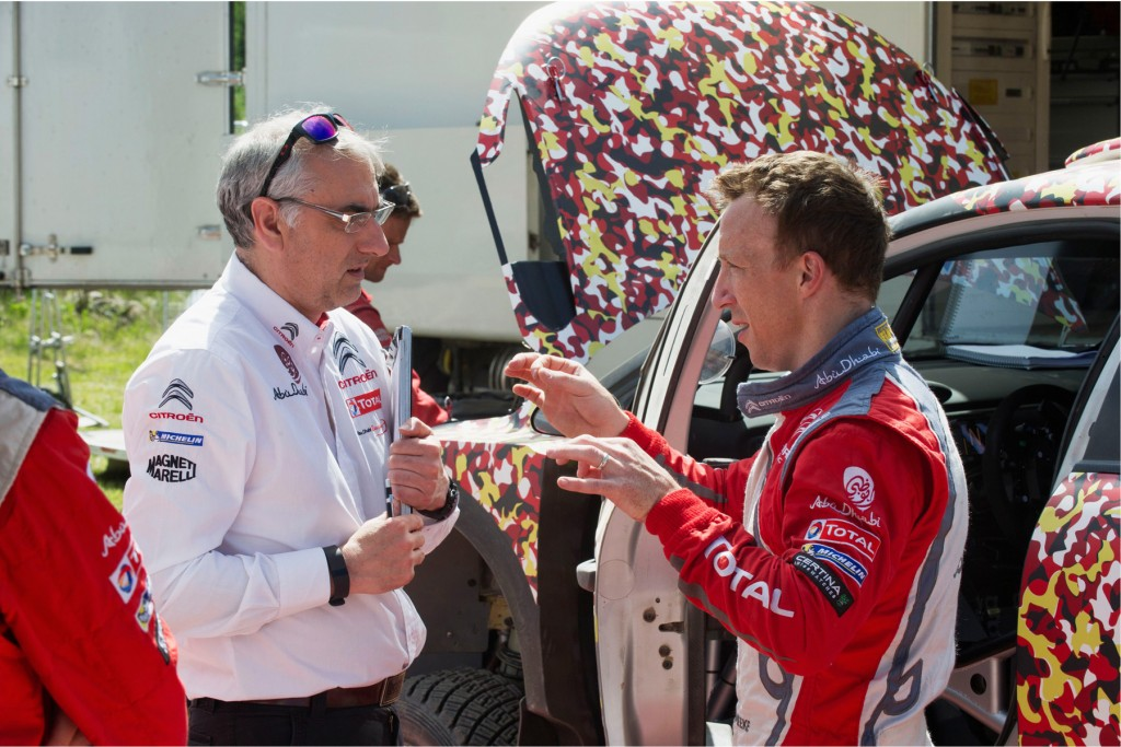 Dungannon man Kris Meeke (right) discusses set up with Citroen Racing