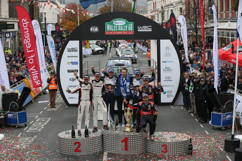 Dayinsure Wales Rally GB podium celebrations in Llandudno