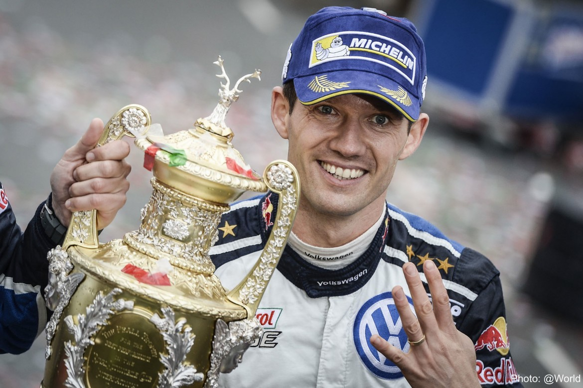 Four times a winner - Sebastien Ogier with the Dayinsure Wales Rally GB trophy