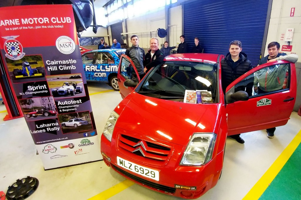 Larne MC Jonathan Millar with his Citroen and students