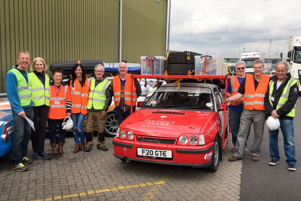 Some of the helpers including - Organiser Martin Stockdale (second right), Nigel Worswick (left of car) and Andrew and Melissa Costin-Hurley (first and second left)