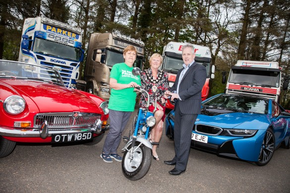 MacMillan Cancer fundraiser Margaret alongside Mayor Audrey Wales MBE (centre) and Paul Dempster (Vice-Chair of Ballymena Carfest) at the launch of the 2017 Ballymena Carfest.
