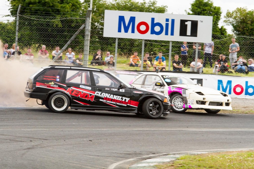 Alex Heilbrunn spins at Mobil 1 bend against Charlie Geary