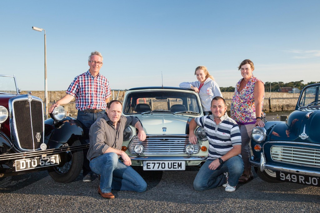 L-R; Organisers Mark Lemon, Alan Finlay and Richard Harrison along with Katie Lemon and the Morris Minor Club's NI secretary Susan Shepherd who is supporting the event