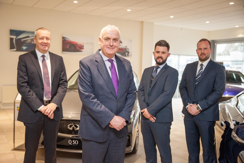 L-R; Alan Wright, Tom Magowan, Peter Taylor & Jason Haddock - The Belfast sales team within the five-star showroom