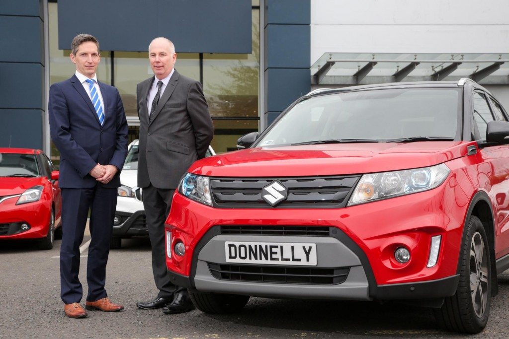 Donnelly Group acquires SMW Suzuki in Belfast from the Agnew Group: Paul Compton, Site Director at Donnelly Group Boucher Road and Stephen Robinson, National Sales Manager at Suzuki GB PLC at the new Donnelly Suzuki showroom at Boucher Road. The showroom is the third Suzuki site for the Donnelly Group, alongside Eglinton and Newtownabbey. Suzuki has been a manufacturing partner of Donnelly Group since 2005.