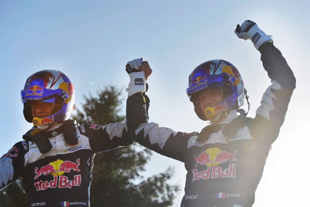 Julien Ingrassia and Sébastien Ogier celebrate a fifth WRC crown
