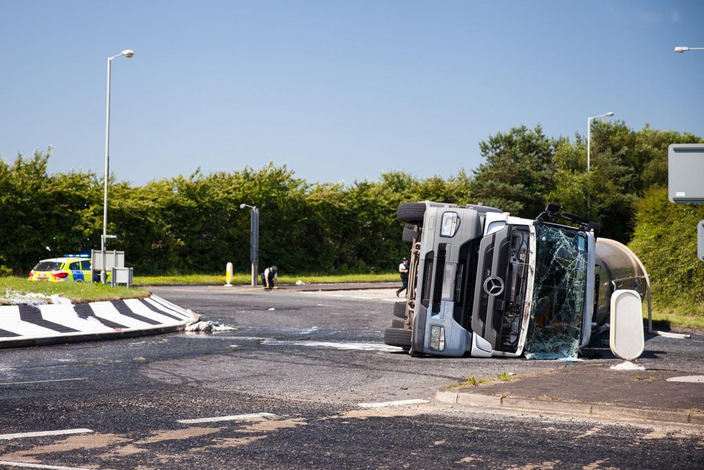 I happened upon this incident recently when a fluid carrying lorry toppled due to the nature of its load - excess speed through roundabout a likely cause...