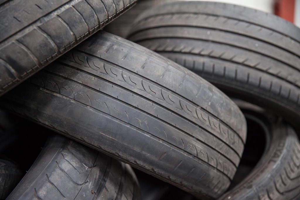 Illegally worn tyres stacked up in a local tyre depot, they remove these dangers on a daily basis...