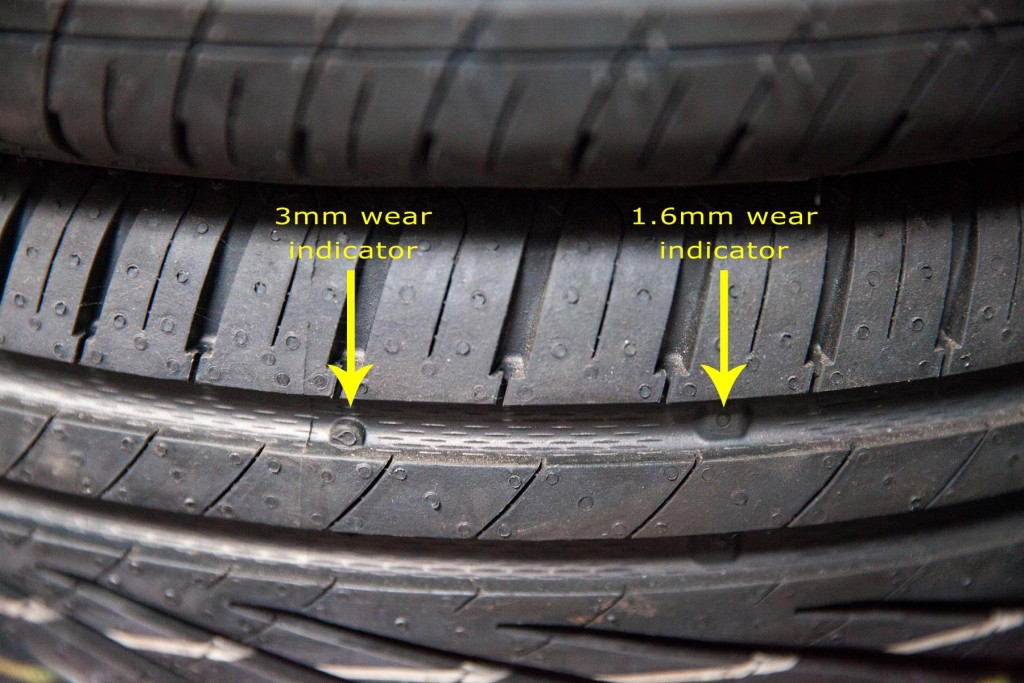 A new tyre highlighting various wear indicators that can be found...