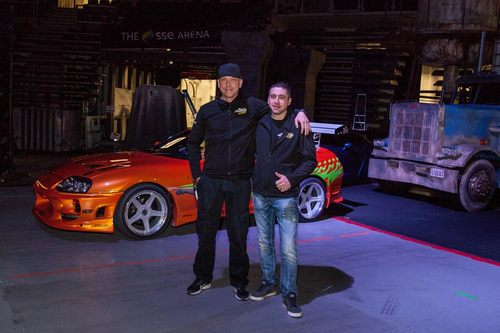 Belfast's Chris Burns (left) with fellow stunt driver, Jonny irwin from Fintona