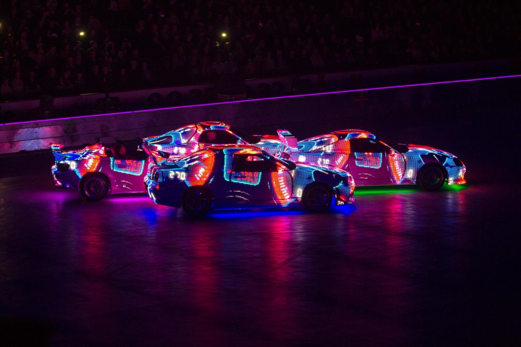LED cars from the Miami scene within Belfast's SSE Arena