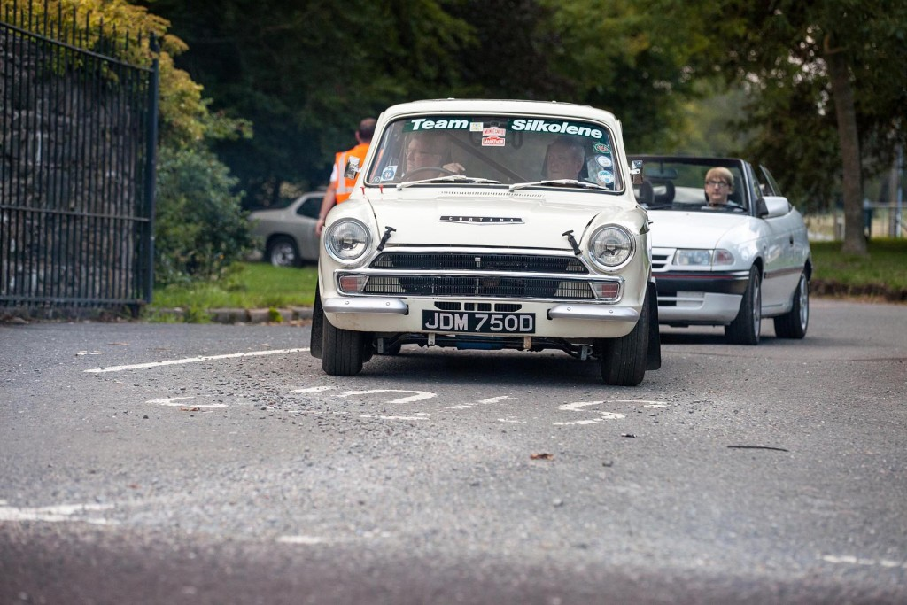 A Lotus Cortina in historic rally guise enjoys the run...