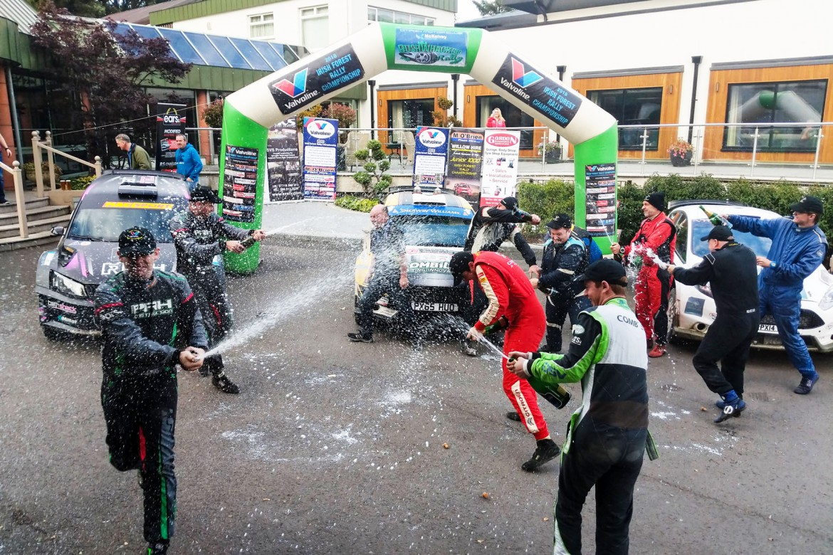 Champagne spraying at the Silverbirch Hotel finish. pic:Jonathan MacDonald