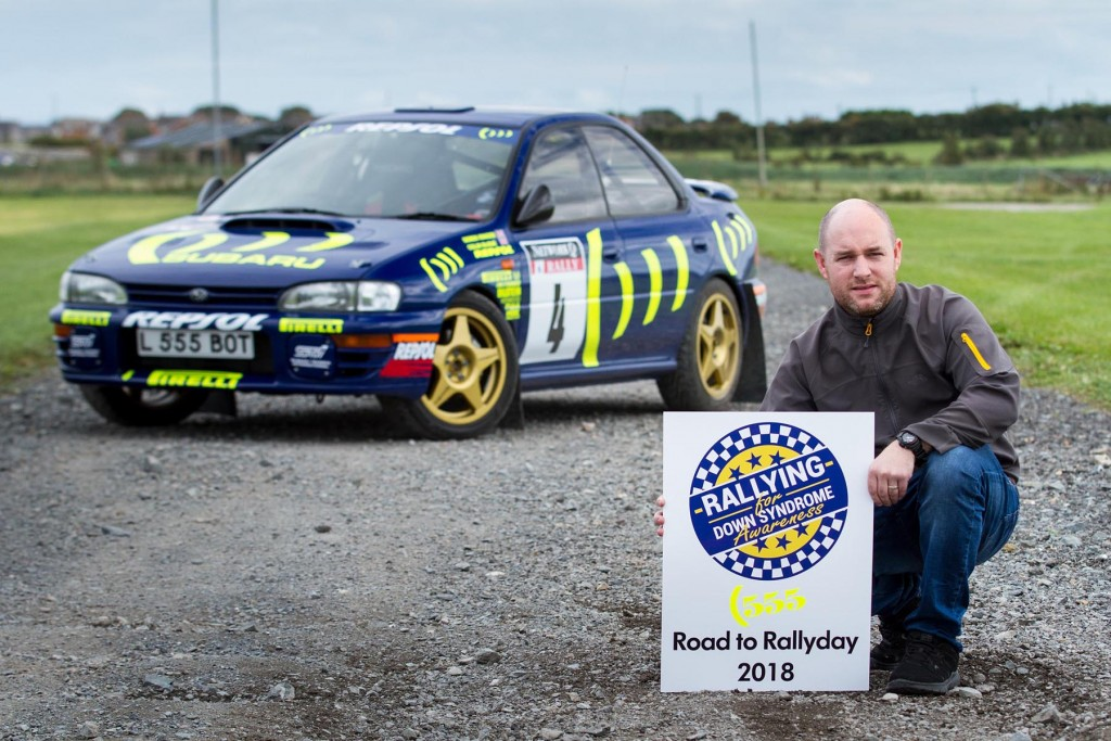 Bryan Haddock with his replica of the infamous 'L555 BAT' GrpA Impreza...