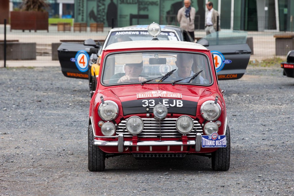Paddy Hopkirk with Rory Kennedy on the notes in a replica of Paddy's Monte Carlo winning Mini Cooper S...