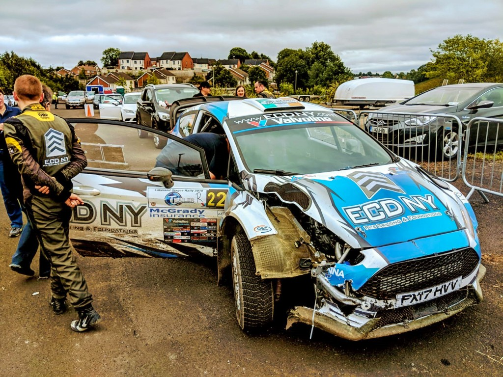 The damaged Fiesta of Barry McKenna and Andrew Purcell