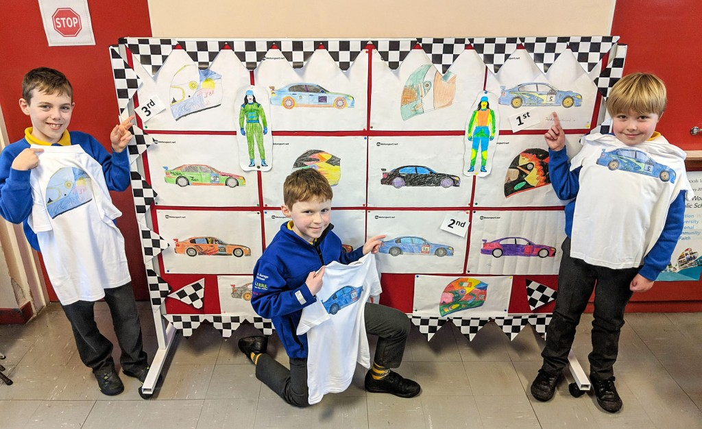 Colouring competition winners (L-R) Dara, Cormac and Jayden. picture:Jonathan MacDonald