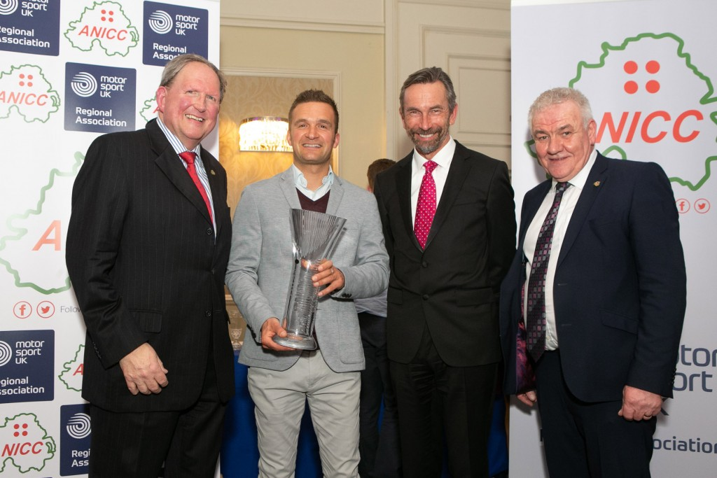 Colin Turkington receiving the ANICC Northern Ireland Motorsport Award from (left) Nicky Moffitt, ANICC Secretary, Colin Turkington, Hugh Chambers and Henry Campbell, ANICC Chairman | Image courtesy of John O'Neill - Sperrins Photography