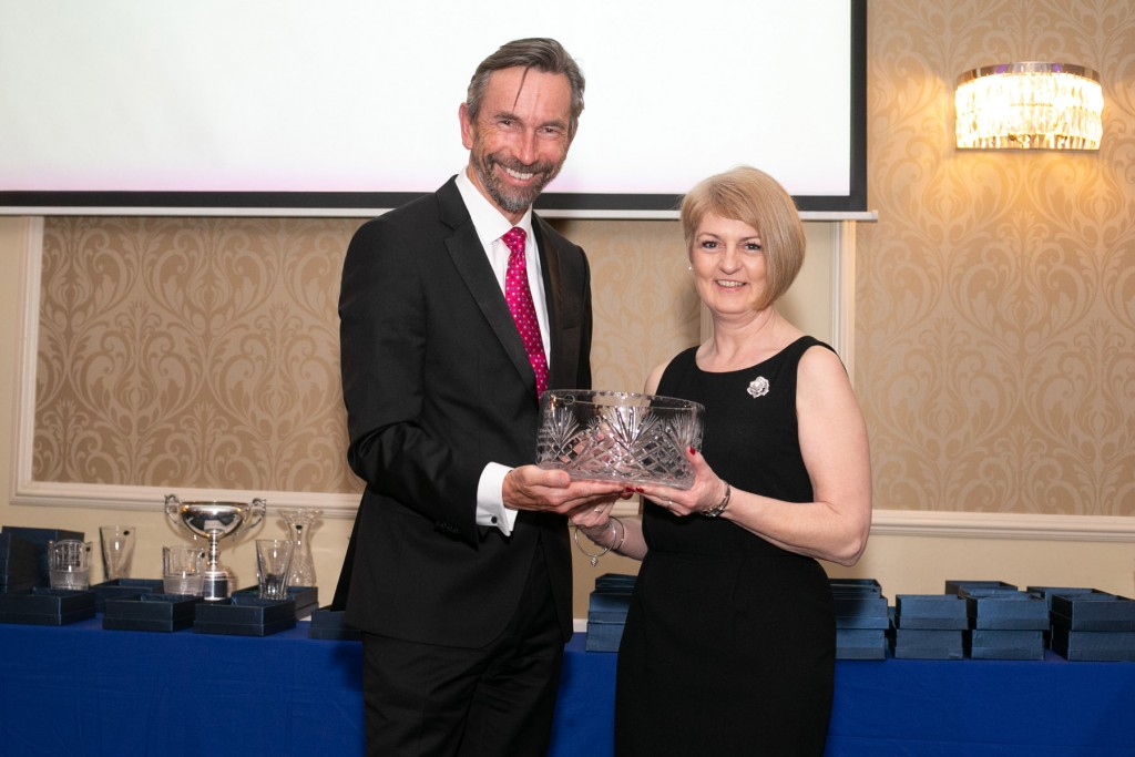 Wendy Blackledge (Chair of Enniskillen Motor Club) receiving an acknowledgement from ANICC on behalf of Enniskillen Motor Club, for winning the 2018 JLT/Motorsport UK Club of the Year Award. Acknowledgement presented by Hugh Chambers CEO, Motorsport UK | Image courtesy of John O'Neill - Sperrins Photography