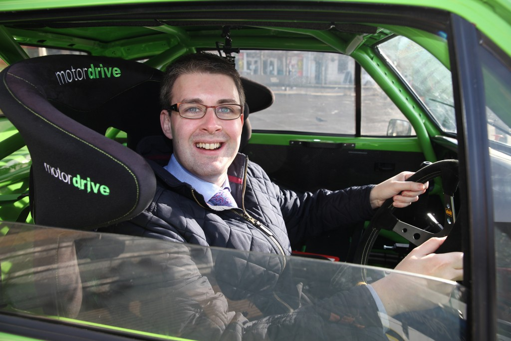 Councillor Robert Adair in the driving seat of a Ford Escort MkII competition car. picture:Jonathan MacDonald