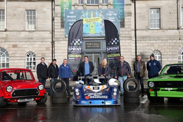 (L-R): Councillor Robert Adair, Councillor Stephen McIlveen, competitor Gordon Buckley, Championship Co-ordinator David Evans and partner Joanne Andrews, marshal Godfrey Evans, sponsor Bill Adair and competitor Thomas Purdy. picture: Jonathan MacDonald/MEDIAJAM COMMUNICATIONS