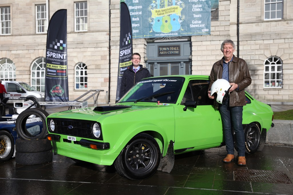 Councillor Robert Adair and Sprint Championship sponsor Bill Adair beside Thomas Purdy's Ford Escort MkII competition car. picture:Jonathan MacDonald