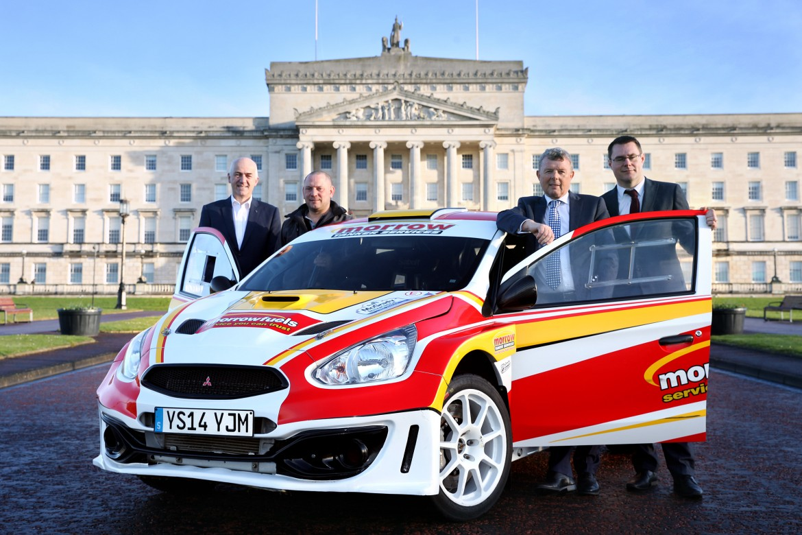 (L-R) Gavin Campbell (Chairman of N.I. Rallies Committee) with competitor Hamilton Bell as well as Fintan McGrady and Aidan Hughes of McGrady Insurance. picture: Jonathan MacDonald/MEDIAJAM COMMUNICATIONS