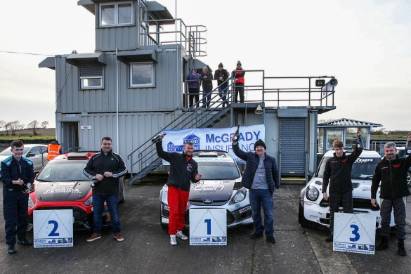 Top 3 Overall: Winners Derek McGarrity and Sean Topping (centre), second place Mark Massey and Eathan McColgan (left), third place Derek and Mark McGeehan (right). picture:Jonathan MacDonald