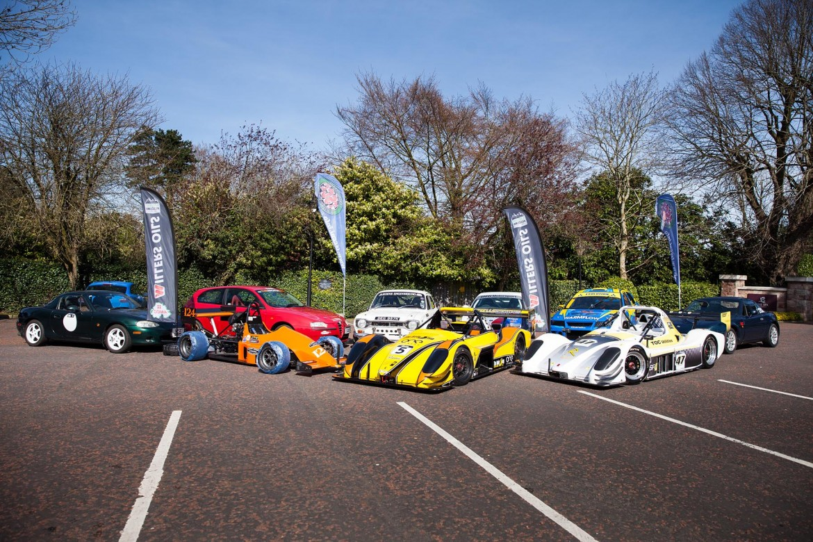 A selection of competing cars at the launch of the 2019 ANICC Millers Oils Northern Ireland hillclimb championship.