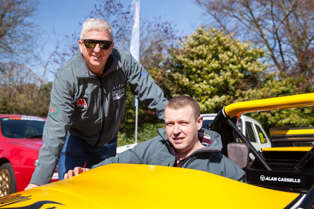 Reigning champion, Gerard O'Connell (left) and championship coordinator, Alan Cassells at the launch of the 2019 ANICC Millers Oils Northern Ireland hillclimb championship.