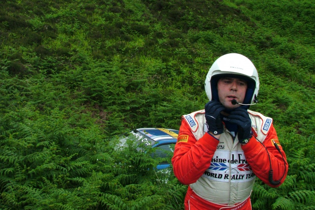 Nesbitt emerges from the undergrowth at Wilhares, having crashed his Impreza WR Car in 2005