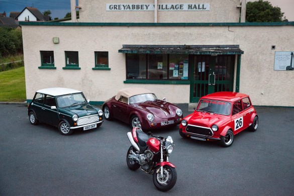 An array of vehicles on display at Greyabbey Village Hall at the launch of this year's Classic Bike & Car Show, set to he held at the venue on Saturday 24 August...
