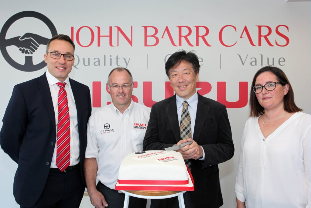 The official opening of John Barr Cars new showroom by Mikio Tsukui, Managing Director and CEO Isuzu Europe and UK Managing Director, William Brown.