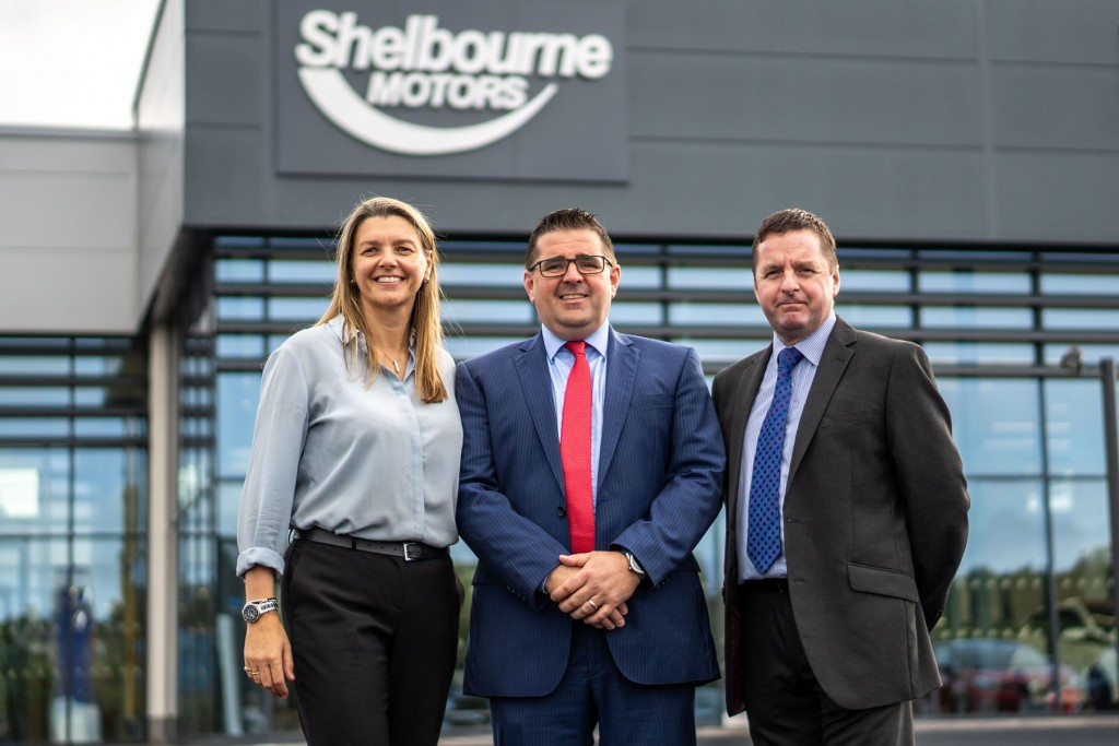 Shelbourne Motors has opened its new £5m multi-franchise complex in Newry with the creation of 60 new jobs. The 50,000 sq ft development features state-of-the-art showrooms for global car manufacturers Renault, Dacia and Kia, and a purpose-built Autoselect Used Car Supermarket. It also includes new car handover bays, drive-in service centre and lounge-style waiting area.  Pictured opening the new £5m multi-franchise complex in Newry is Caroline Willis, Financial Director; Paul Ward, Sales Director and Richard Ward, Sales Director.