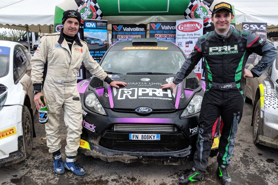 Rally winners Desi Henry (right) and navigator Damien Connolly.