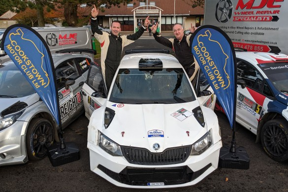 Tyrone Stages Rally winners Derek McGarrity and Paddy Robinson with their Skoda Fabia R5. picture: Jonathan MacDonald