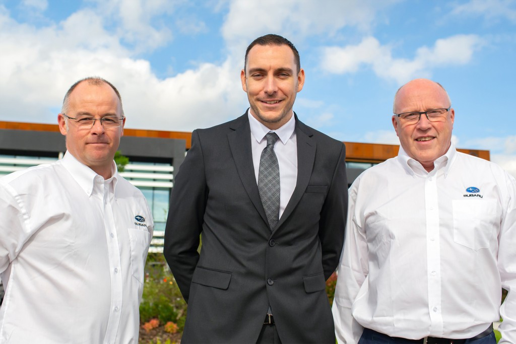 L-R; John Barr; Alex Sheward, Subaru UK; Peter Eakin.