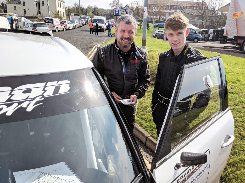2019 McGrady Insurance Motorsport UK N.I. Rally Champion NAVIGATOR Mark McGeehan (right) with his father, Derek